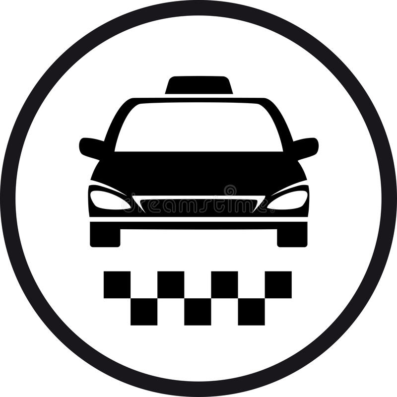 Round taxi sign stock illustration