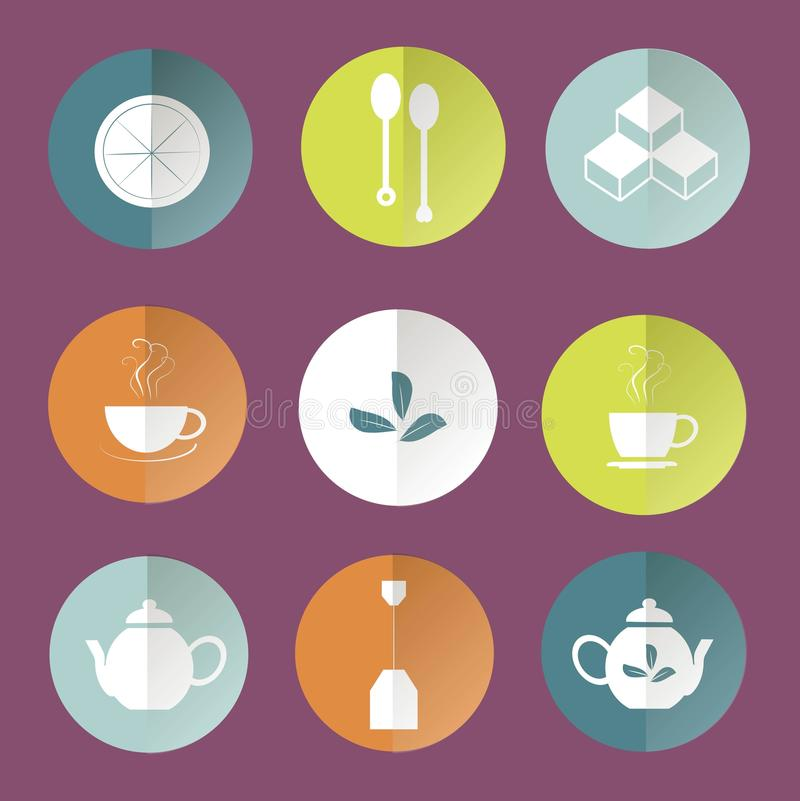 Round tea icons, white marks on orange, blue, light blue, green, white, violet background. Round tea flat icons, white marks on orange, blue, light blue, green stock illustration