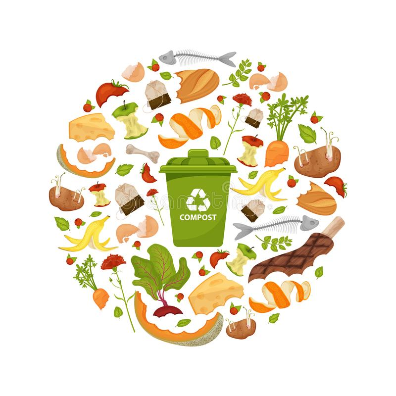Round template Organic waste theme. Collection of fruits and vegetables. Illustration for home food processing and compost, vector illustration