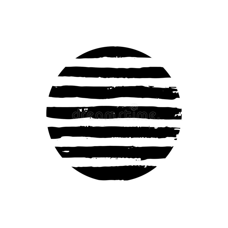 Round Textured Brush strokes background isolated on white. Black brush stroke circle stock illustration