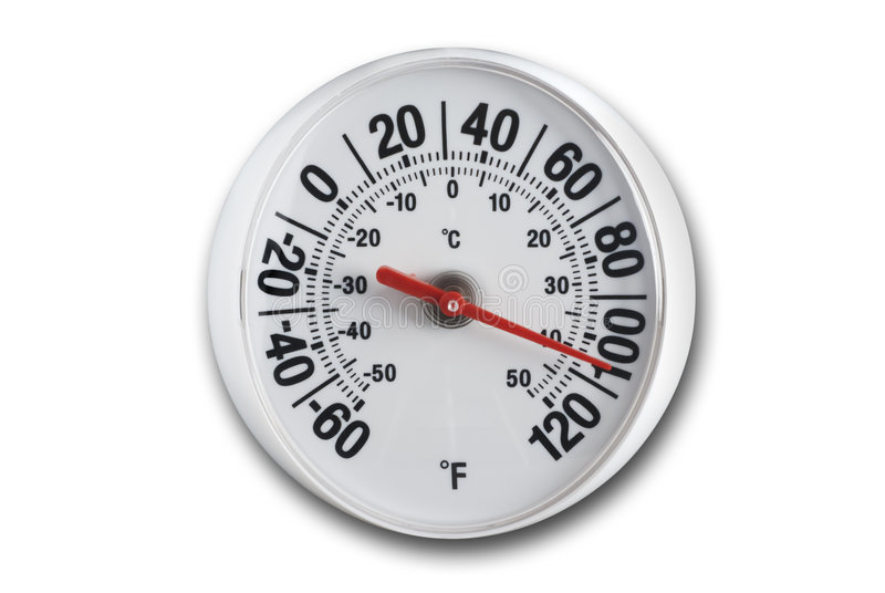 Round thermometer with clipping path. Round thermometer on white with soft shadow and clipping path royalty free stock photography