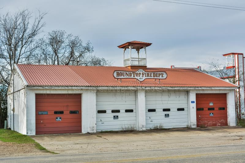Round Top Fire Department building dating from 1904. Round Top, Texas, United States of America - December 27, 2016. Round Top Fire Department building dating stock photos