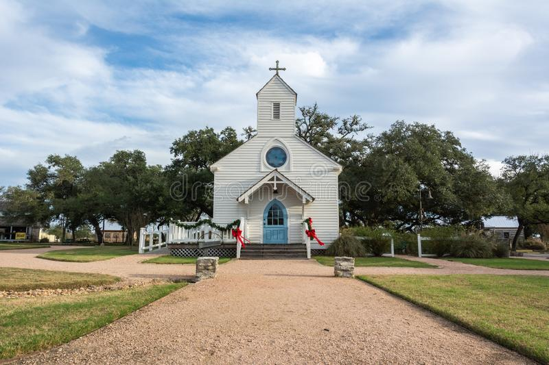 Haw Creek Church, dating from 1872, at the Henkel Square Market in Round Top, TX. Round Top, Texas, United States of America - December 27, 2016. Haw Creek royalty free stock photography
