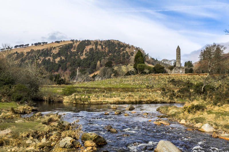 Round Tower Glendalough Ireland stock photography