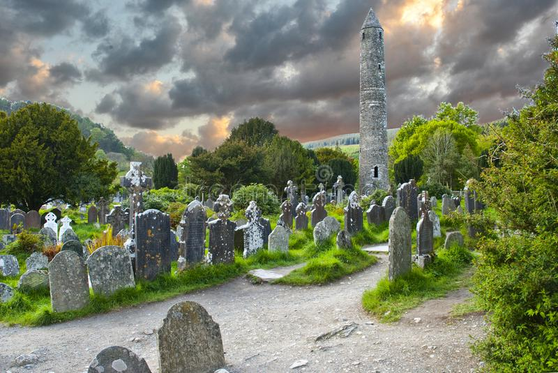 Round tower and semetery in Glendalough, royalty free stock images