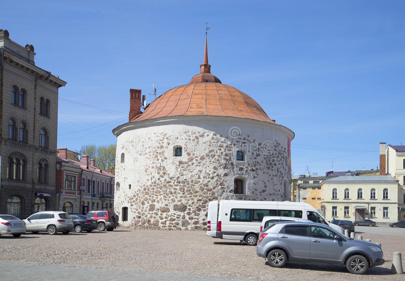 The round tower. Sunny may day. Vyborg royalty free stock photography