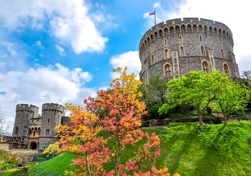Round Tower of Windsor Castle, London suburbs, UK royalty free stock photo