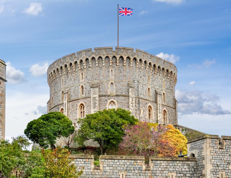 Round Tower of Windsor Castle, Verenigd Koninkrijk royalty-vrije stock foto