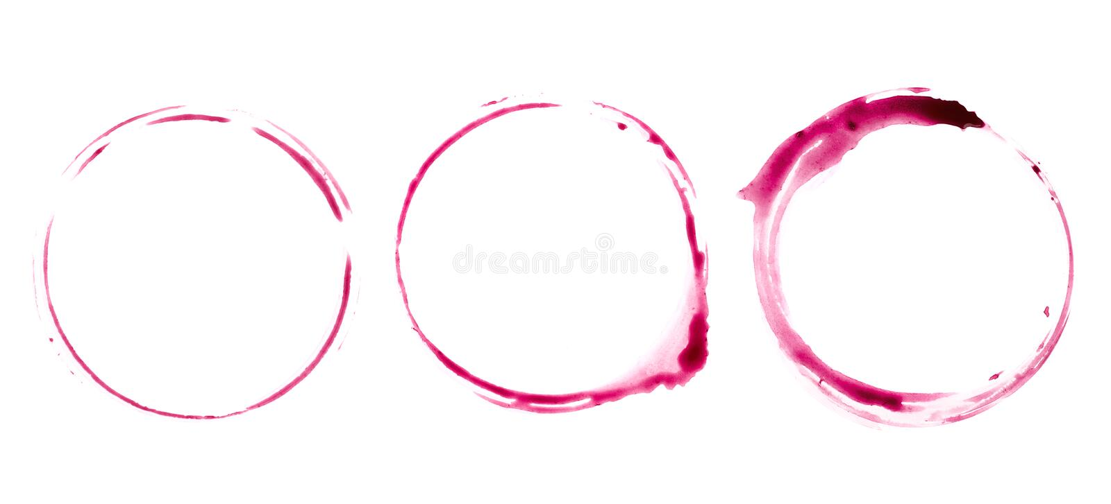 Round trace on the table from a glass of wine. Trace on the table from a glass of red wine stock images