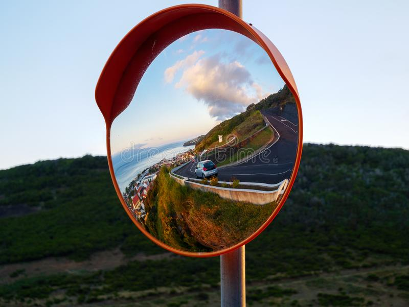 Traffic Safety Mirror On A Corner Stock Image Image Of
