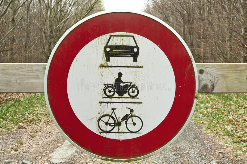 Round traffic sign, the passage of vehicles and motorcycles prohibited. European round traffic sign, the passage of vehicles and motorcycles prohibited royalty free stock images