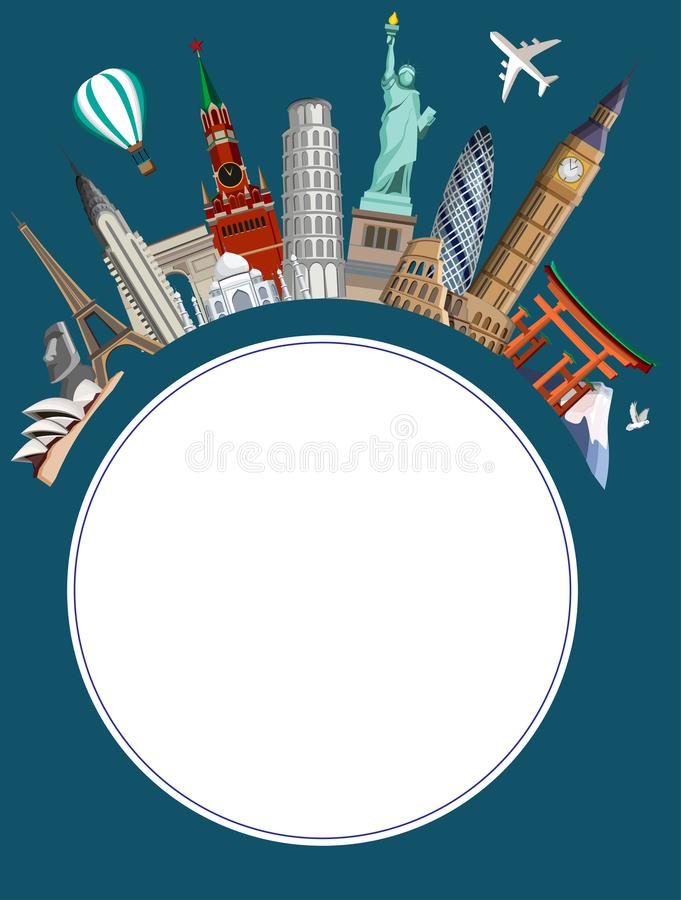 Round travel background with worldwide sights and plane. royalty free illustration