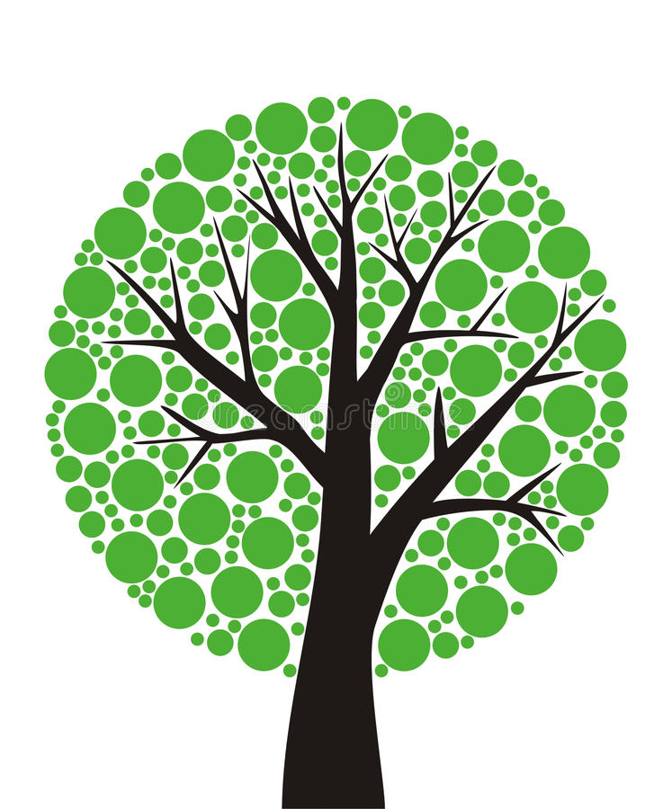 Round tree. Simple stylized tree with green leaves sliced vector illustration