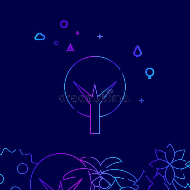 Round Tree Vector Line Icon, Illustration on a Dark Blue Background. Related Bottom Border vector illustration