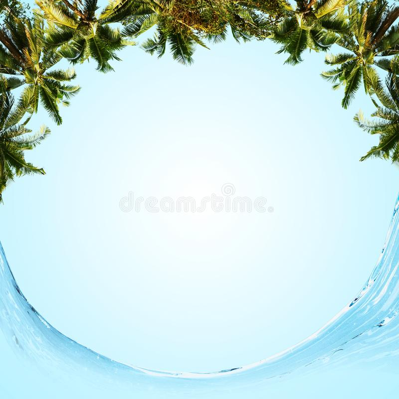 Round tropical backdrop. Over blue sky background royalty free illustration