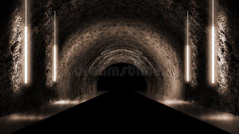 Round underground tunnel, cave, mine. Illumination by neon light. stock illustration