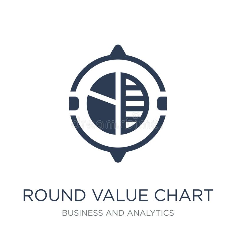 Round Value Chart icon. Trendy flat vector Round Value Chart icon on white background from Business and analytics collection. Vector illustration can be use stock illustration