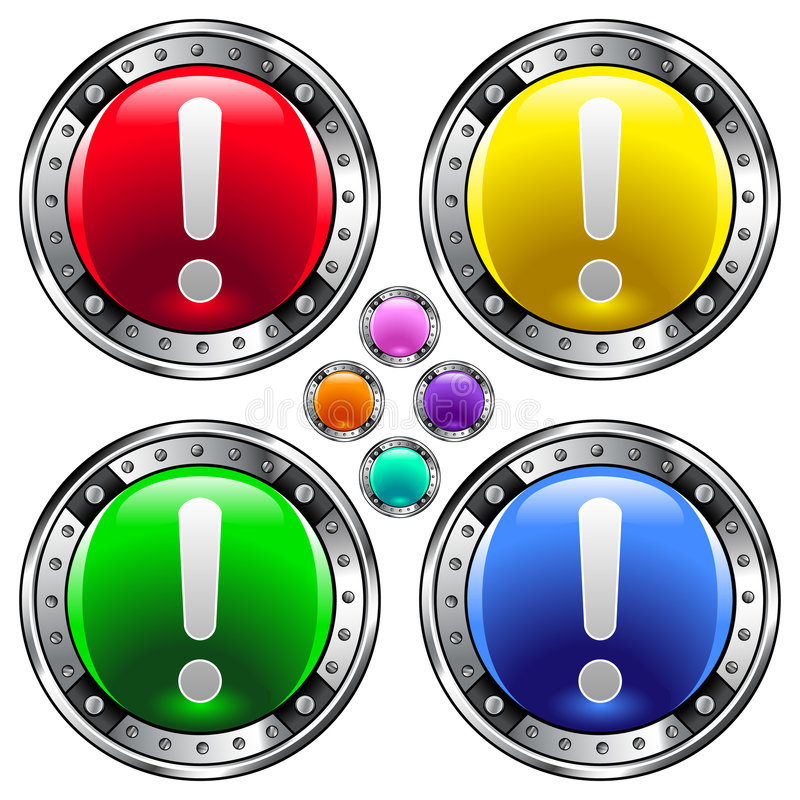 Download Round Vector Button Set With Exclamation Point Ico Stock Vector - Image: 8570357