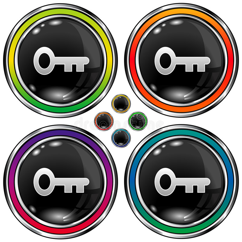 Download Round Vector Button With Skeleton Key Icon Stock Vector - Image: 8569302