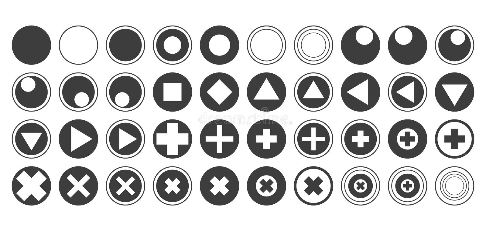 Round vector buttons with triangle icons diamonds squares circles crosses flat black contours set of forty isolated on white backg vector illustration