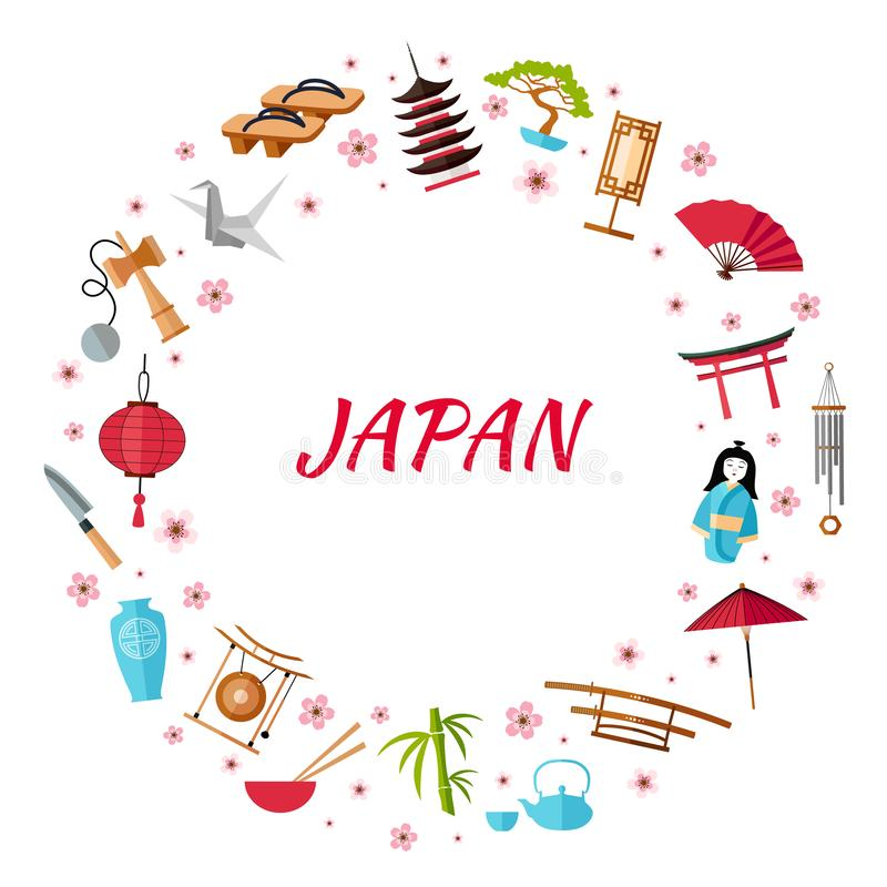 Round vector frame of elements of Japanese culture. Vector illustration stock illustration