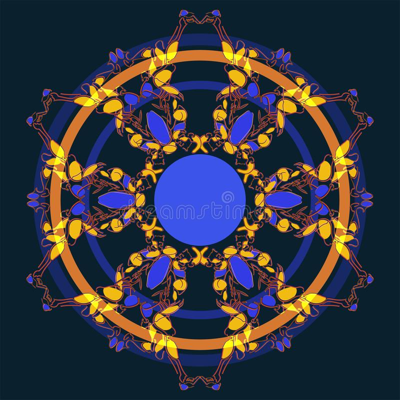 Round  ornament of six fancy complicated elements stock illustration