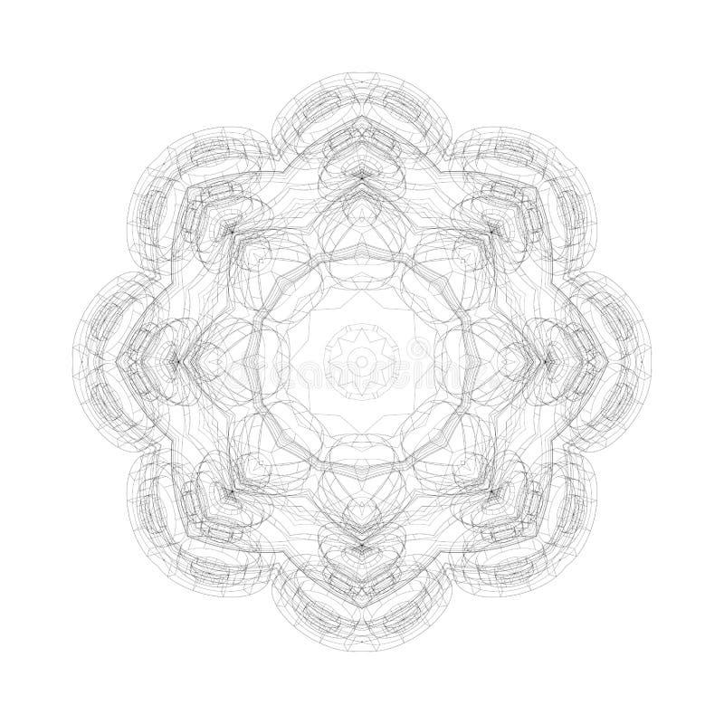 Round vector shape, technical construction. Digital design pattern on white stock illustration