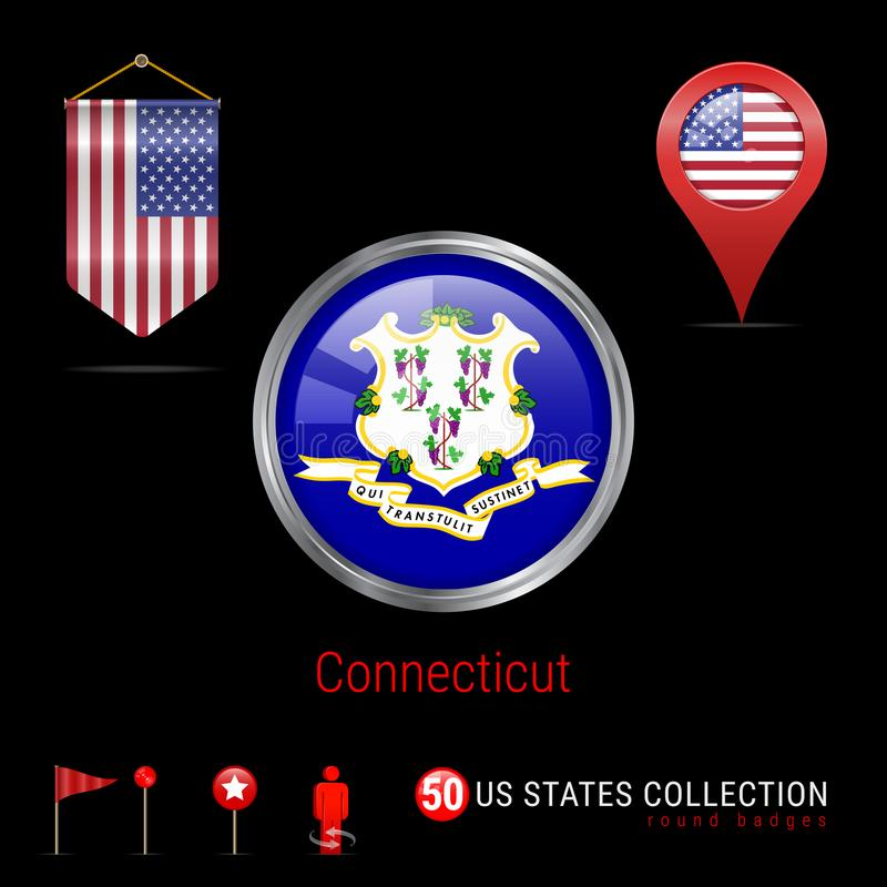 Round Chrome Vector Badge with Connecticut US State Flag. Pennant Flag of USA. Map Pointer - USA. Map Navigation Icons stock illustration
