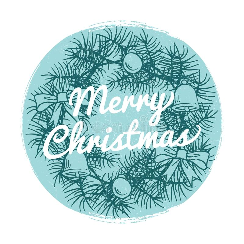 Round vintage Christmas banner with hand drawn wreath and text Merry Christmas royalty free illustration