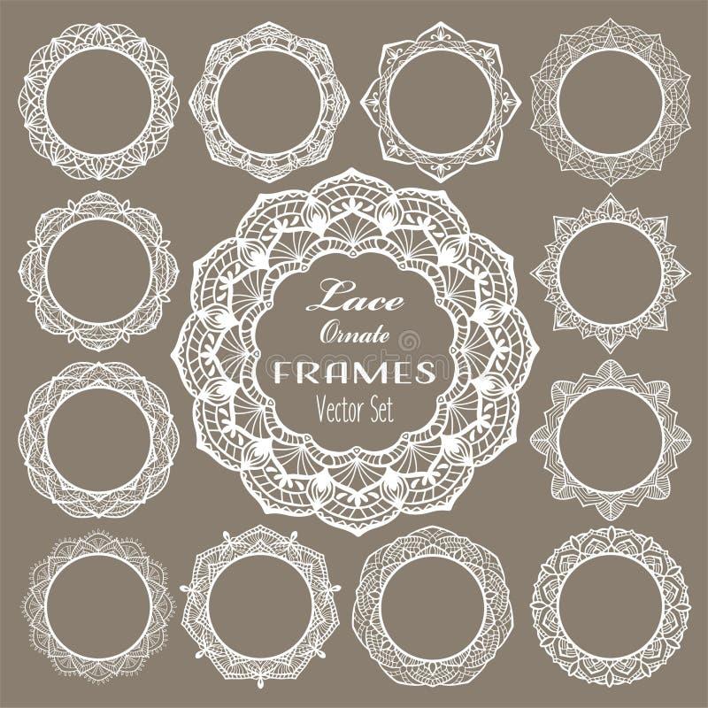 Round vintage lace frames, white napkins for elegant wedding invitation card, text or photo. Laser cut set, round mandala ornament. S. Ornate doily lace on brown stock illustration