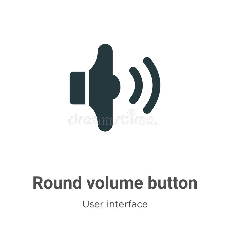 Round volume button vector icon on white background. Flat vector round volume button icon symbol sign from modern user interface stock illustration