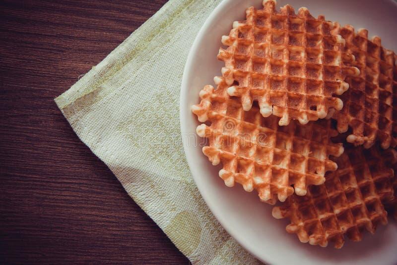 Round waffles stock photos