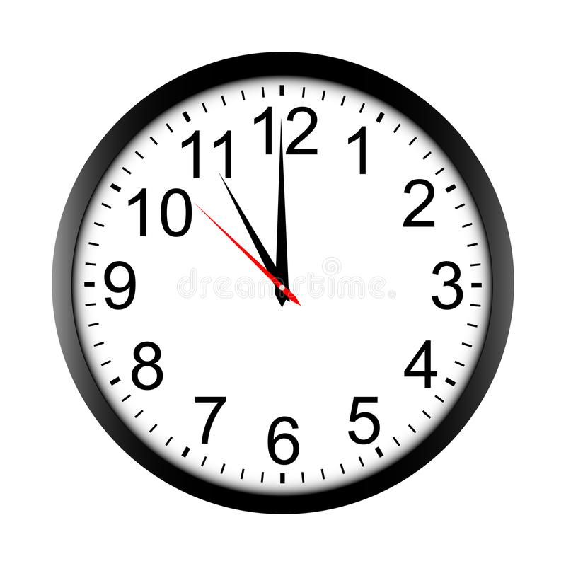 Round wall clock mock up - front view. Eleven o`clock. Vector illustration stock illustration