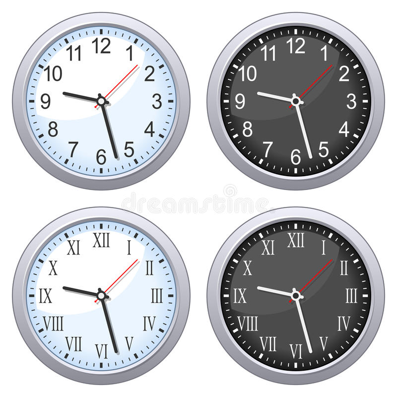 Round Wall Clock Set royalty free illustration