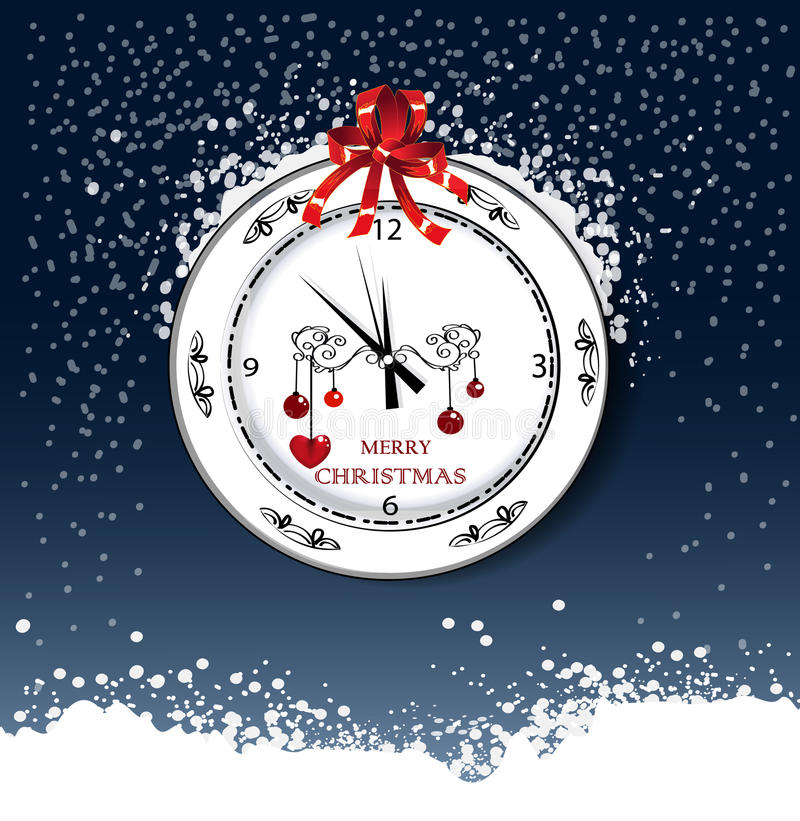 Round watch with Christmas day greeting vector illustration