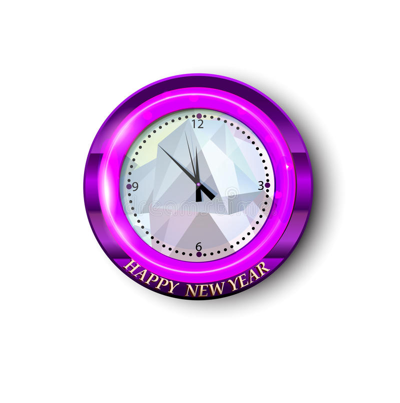 Round watch with New Year greeting royalty free illustration