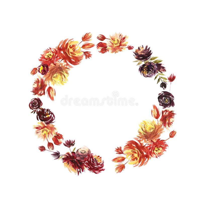 Round Watercolor flower Wreath. Circular red Peony wreath. Isolated on white background. royalty free illustration