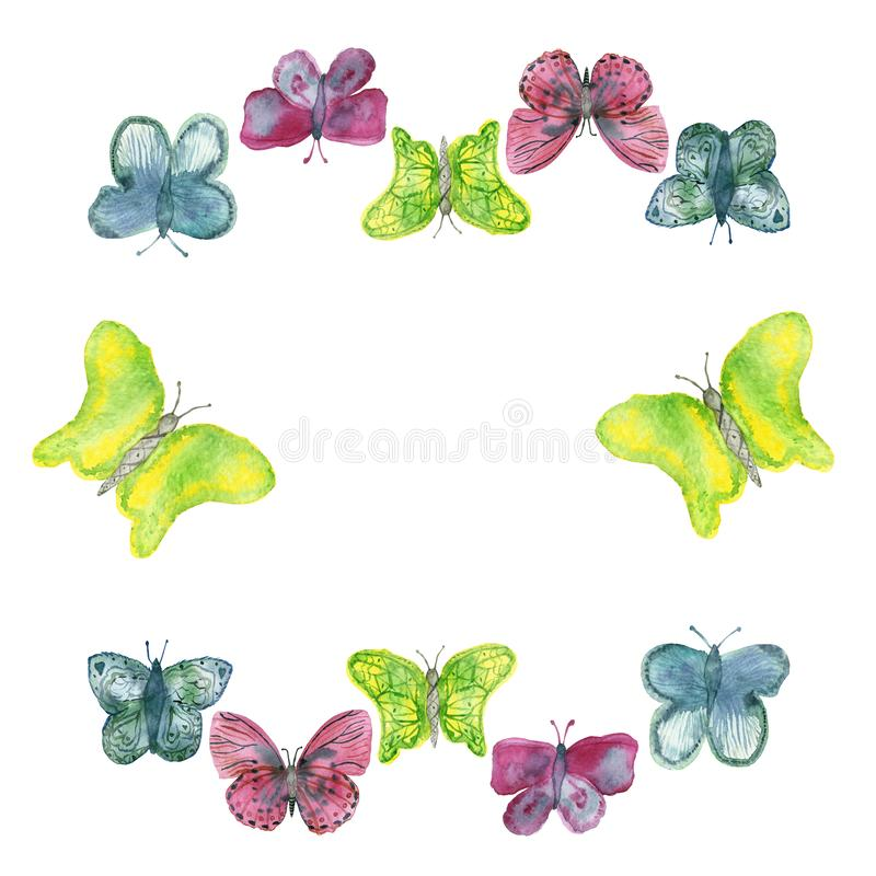 Round watercolor frame of bright colored butterflies isolated on a white background vector illustration