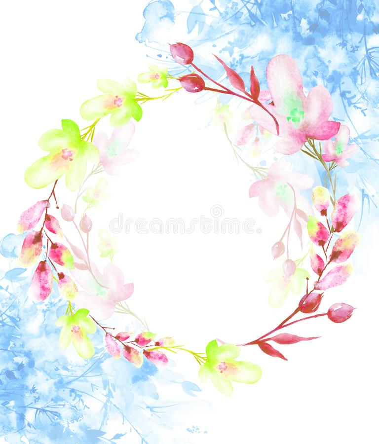 A round watercolor frame, a postcard, a wreath of flowers, twigs, plants, berries. Vintage illustration. Use in different designs vector illustration