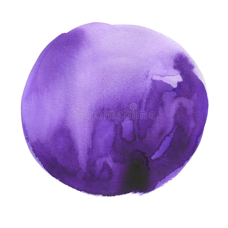 Round watercolor stain. Ultra violet, purple color royalty free stock photos