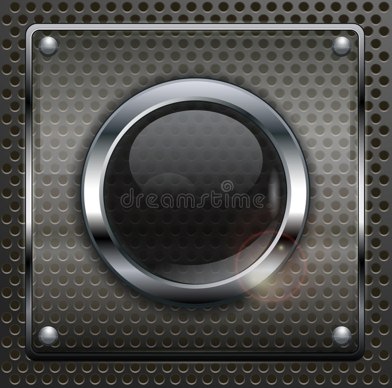 Round web buttons. On dark metallic mesh background, vector illustration royalty free illustration