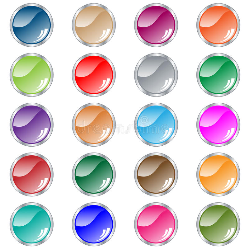 Download Round Web Buttons Set Of 20 In Assorted Colors Stock Vector - Image: 12143043