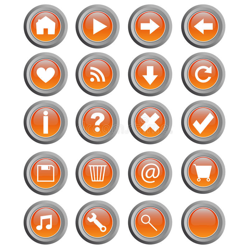 Round web buttons - vector stock illustration