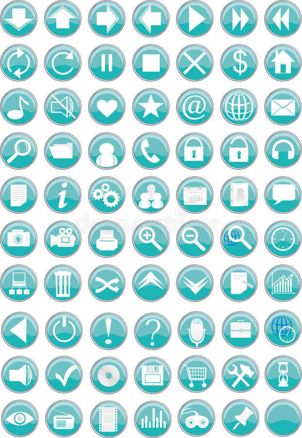 Round web icons / buttons vector illustration