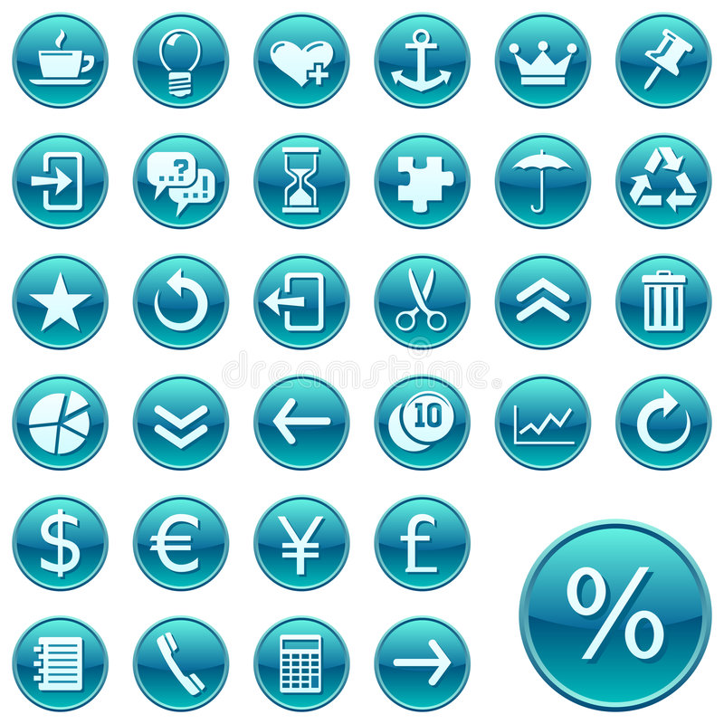 Round web icons / buttons 2. Set of round vector buttons with web icons. Part two stock illustration