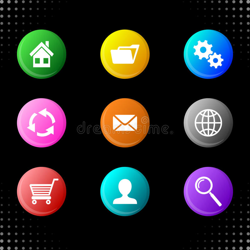 Round website icons. Round web colorful buttons with website icons royalty free illustration