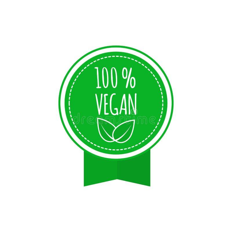 Round weganin, eco, życiorys zielona odznaka z liściem Weganinu menu również zwrócić corel ilustracji wektora ilustracja wektor