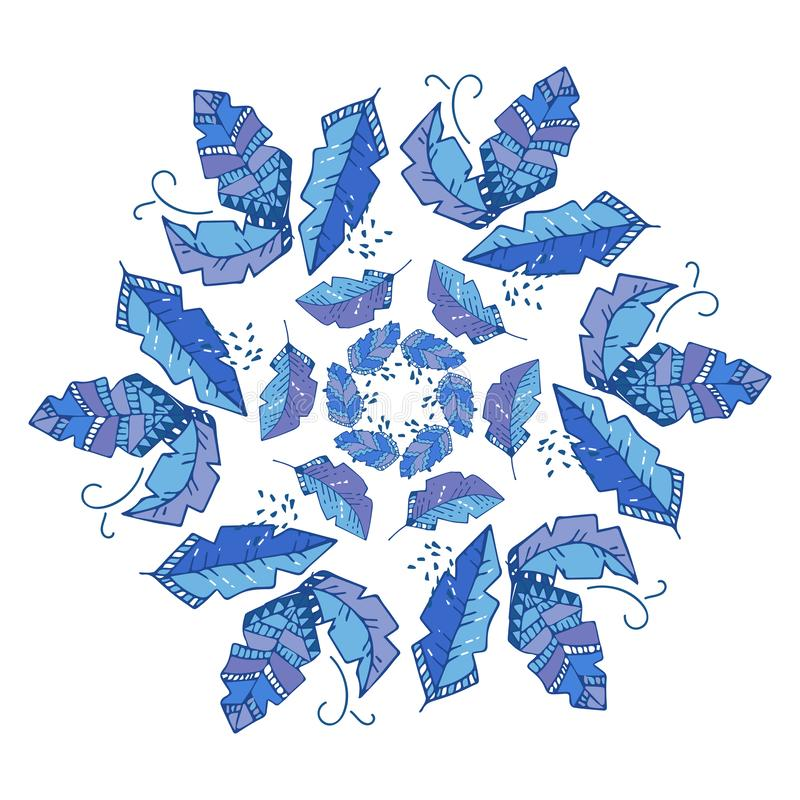 Round wektoru wzór, wielostrzałowy abstrakcjonistyczny geometrii tło w boho przełazie, błękita kwiat lub, graficzny czyści projek royalty ilustracja