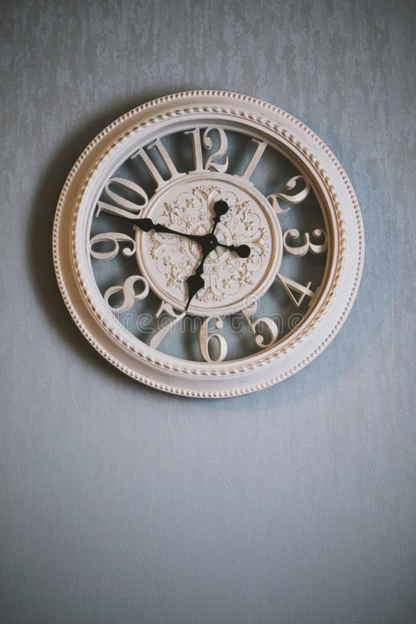 Round White Analog Clock Showing Time stock images