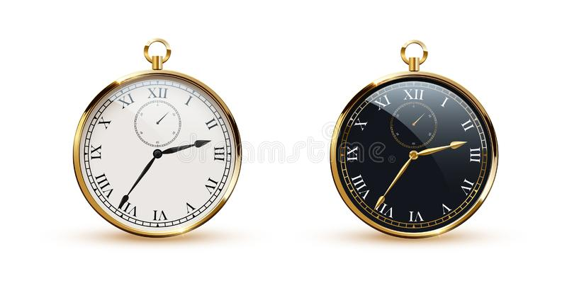 Round white and black clocks with golden frame realistic vector illustration royalty free illustration